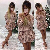 Платье с карманами воланами