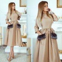 Пышное платье миди с мехом на карманах