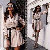 Двубортное платье пиджак с пуговицами