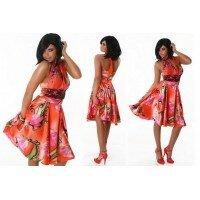 Атласное платье с цветами